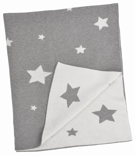 Personalized Baby Blanket - Grey & White Multi Stars