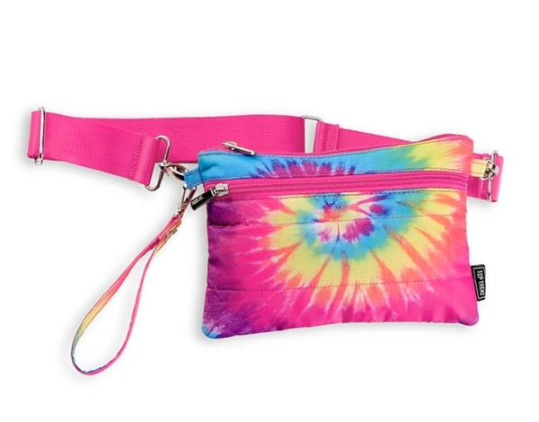 Tie Dye PASTEL Spiral Puffer 2 in 1 pouch or belt bag