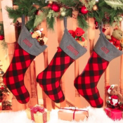 Personalized Christmas Stocking - Canada Plaid