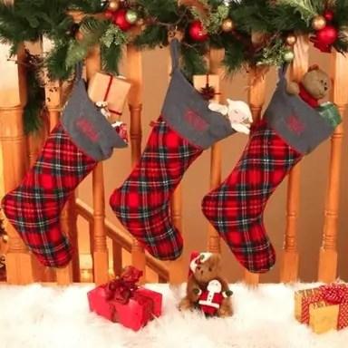 Personalized Christmas Stocking - Christmas Plaid
