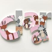 Personalized Wooden Letters - Pink Woodland