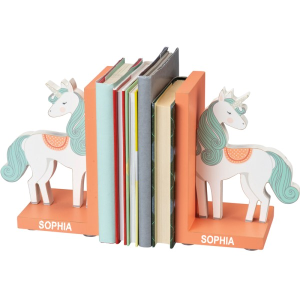 Personalized Kids Bookends - Unicorn