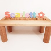 Personalized Wooden Name Puzzle Bench - Pretty Pastels