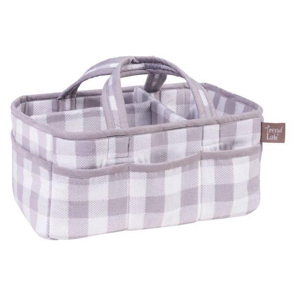 Diaper Caddy - Buffalo Check in Grey and White