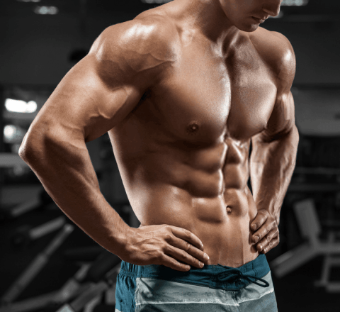 male with 6 pack abs