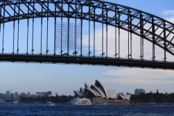 The Sydney Harbour Bridge with the Opera House in the background