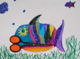 This child imagined the scissors becoming a colorful tropical fish.