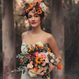 Timeless floral head dress with hand tied bouquet