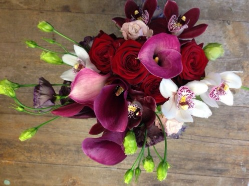 Calla lillies, roses and orchids