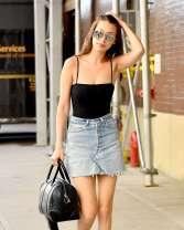 Bella-Hadid-in-Jeans-Mini-Skirt--14