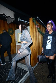 Bella Hadid attends New Year Eve party at The Nice Guy restaurant in Los Angeles, CA. Pictured: Bella Hadid Ref: SPL1415186 010117 Picture by: Aficionado Group / Splash News Splash News and Pictures Los Angeles: 310-821-2666 New York: 212-619-2666 London: 870-934-2666 photodesk@splashnews.com