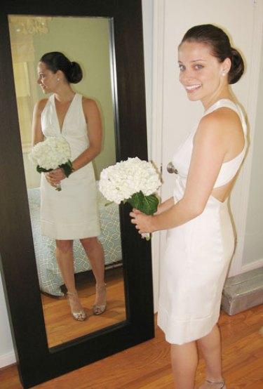 backyard garden wedding dress being worn by bride before walking down the aisle