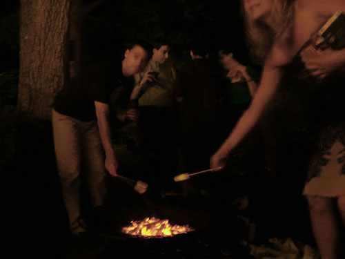 smores roasting over fire pit at backyard wedding