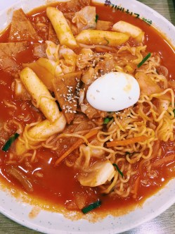 """Lak-bokki"" A variation of Ddukbokki with ramen noodles, soft rice cake, fish cake"