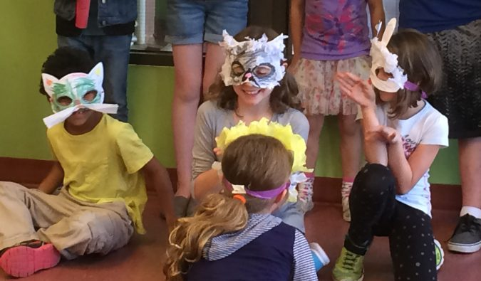 "Students created animal masks for their ""Play in a Day"" at YPT."