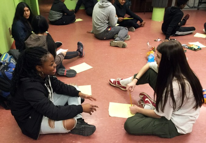 Thyra and Rachel practice interviewing skills  in the Youth Artists for Justice program at YPT.