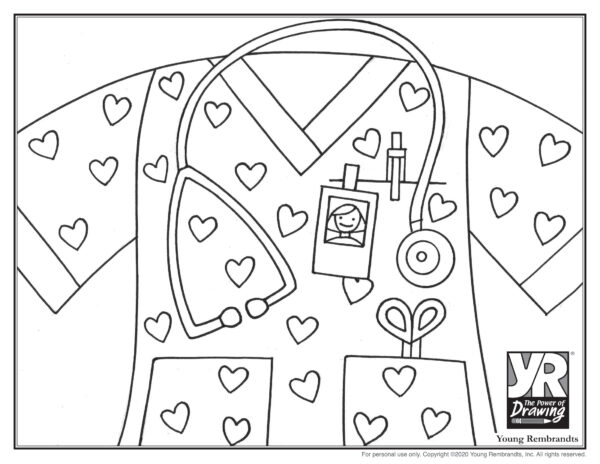 Nurse Coloring Page Young Rembrandts Shop