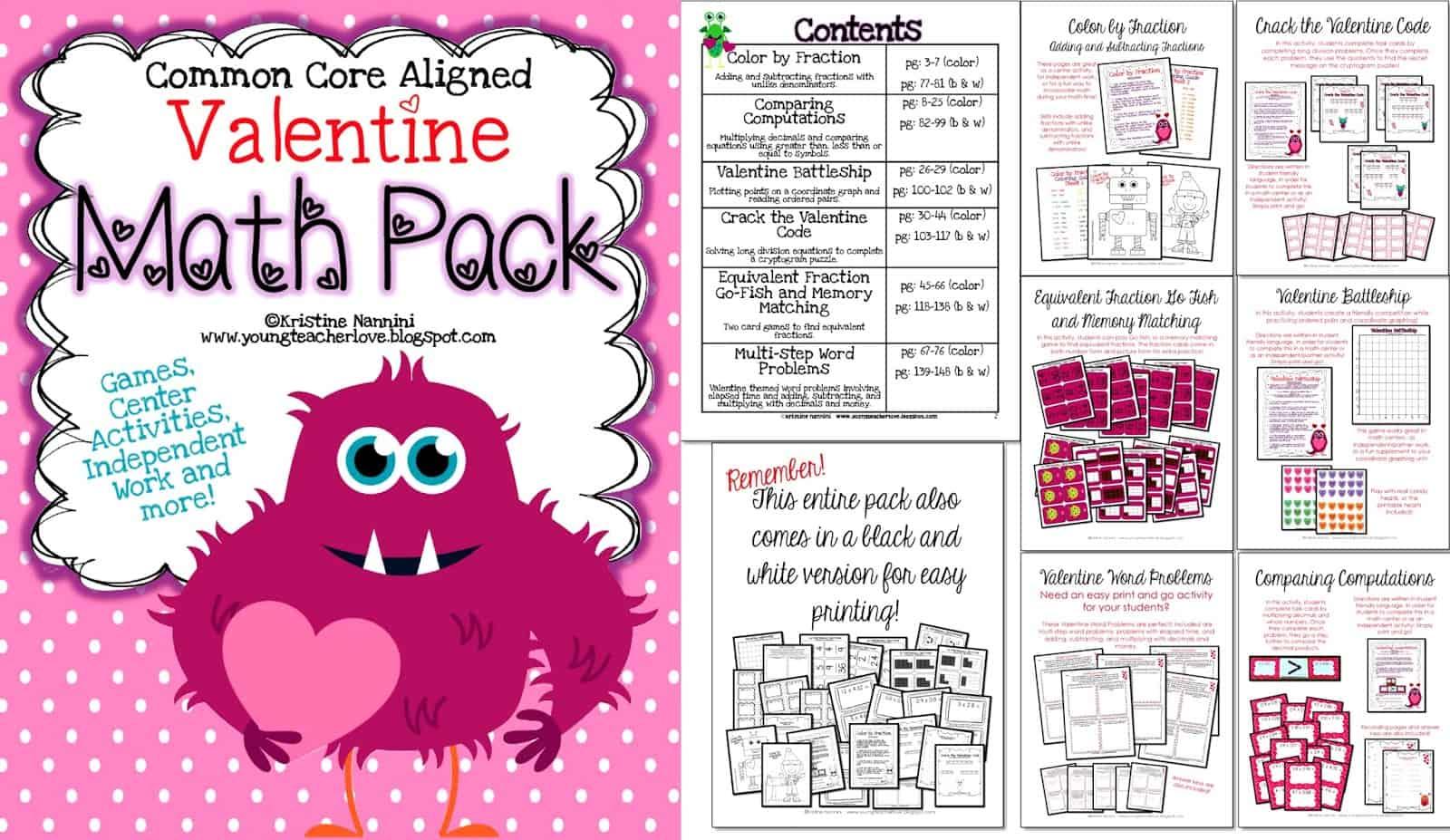 Valentine Math Worksheet 5th Grade