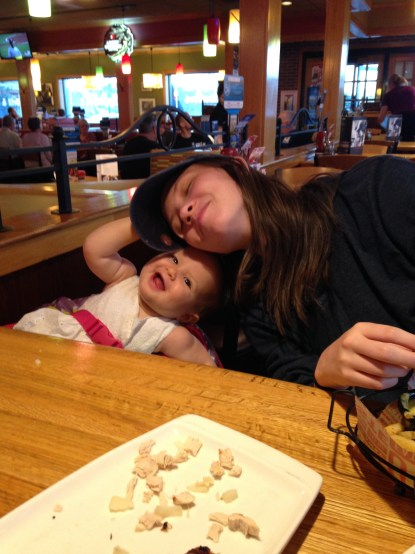 Cuddling at Ruby Tuesday!