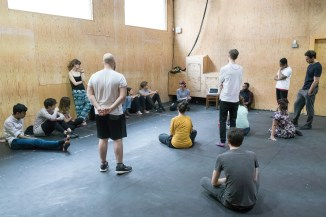 The directors in workshop with Kirsty Housley. Photo by Leon Puplett