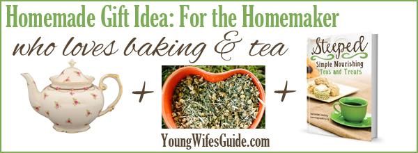 homemade gift idea for the homemaker who loves tea and baking - Homemade Christmas Gift Basket Ideas