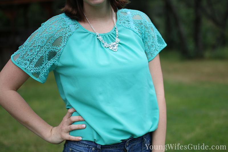 Mint lace Stitch Fix shirt