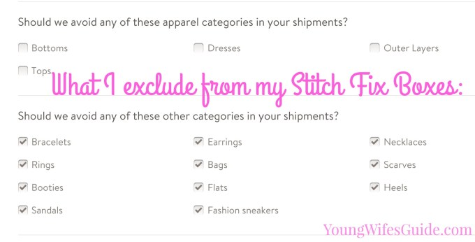 What I includeexclude in my Stitch Fix boxes
