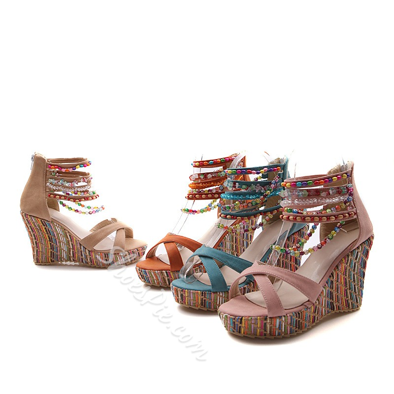 f2a5c138bbefcc Shoespie Ankle Beading Wrap Wedge Sandals - You Posh Girl