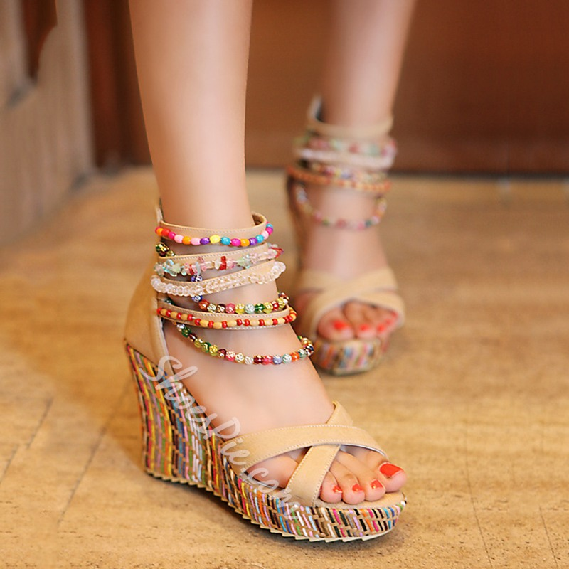 7ada0a08436 Shoespie Ankle Beading Wrap Wedge Sandals - You Posh Girl