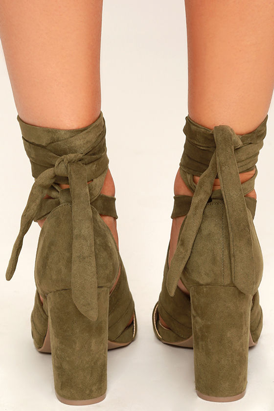 Fun Olive Green Suede Lace-Up Heels