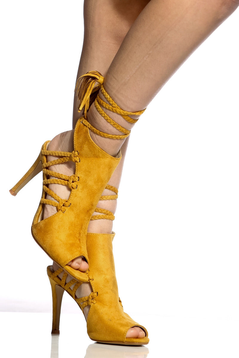4de801f43 Yellow Faux Suede Braided Peep Toe Heels - You Posh Girl