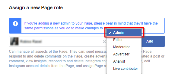 add admin on facebook page