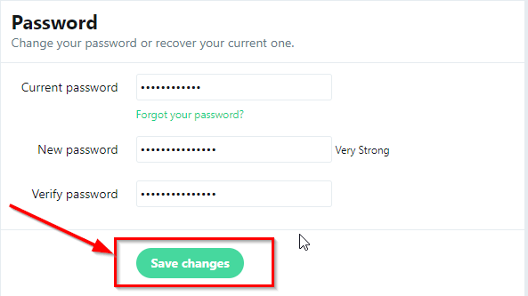 twitter password change save changes button