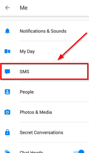 sms option facebook messenger