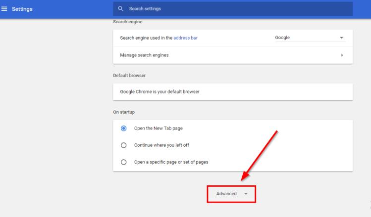 Advanced settings chrome browser
