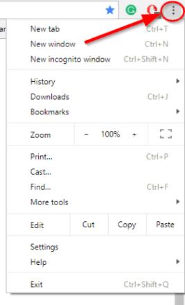 click menu icon chrome top right corner