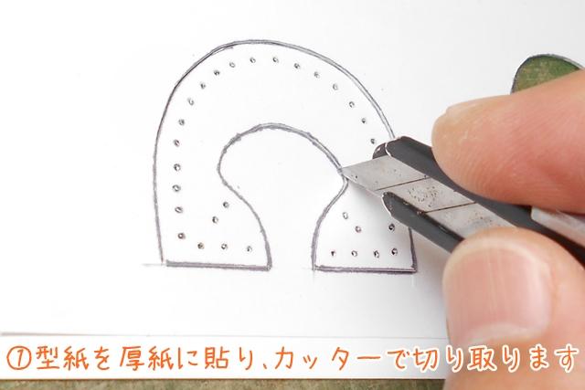 ①型紙を台紙の厚紙に貼り、カッターで切り取ります