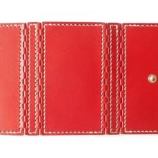 レザー蝶番の4連キーケース Red × Natural 4