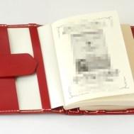 蝶番のレザーブックカバー Red 5