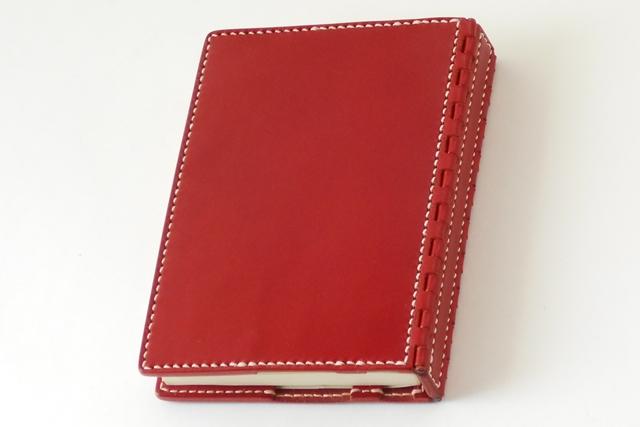 蝶番のレザーブックカバー Red