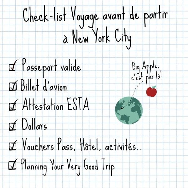 check list avant le d part pour new york your very good trip new york. Black Bedroom Furniture Sets. Home Design Ideas
