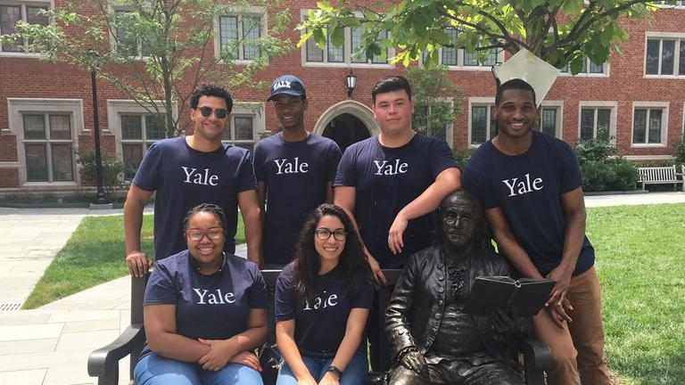 Yale Finance Interns pose in the courtyard of the Benjamin Franklin College