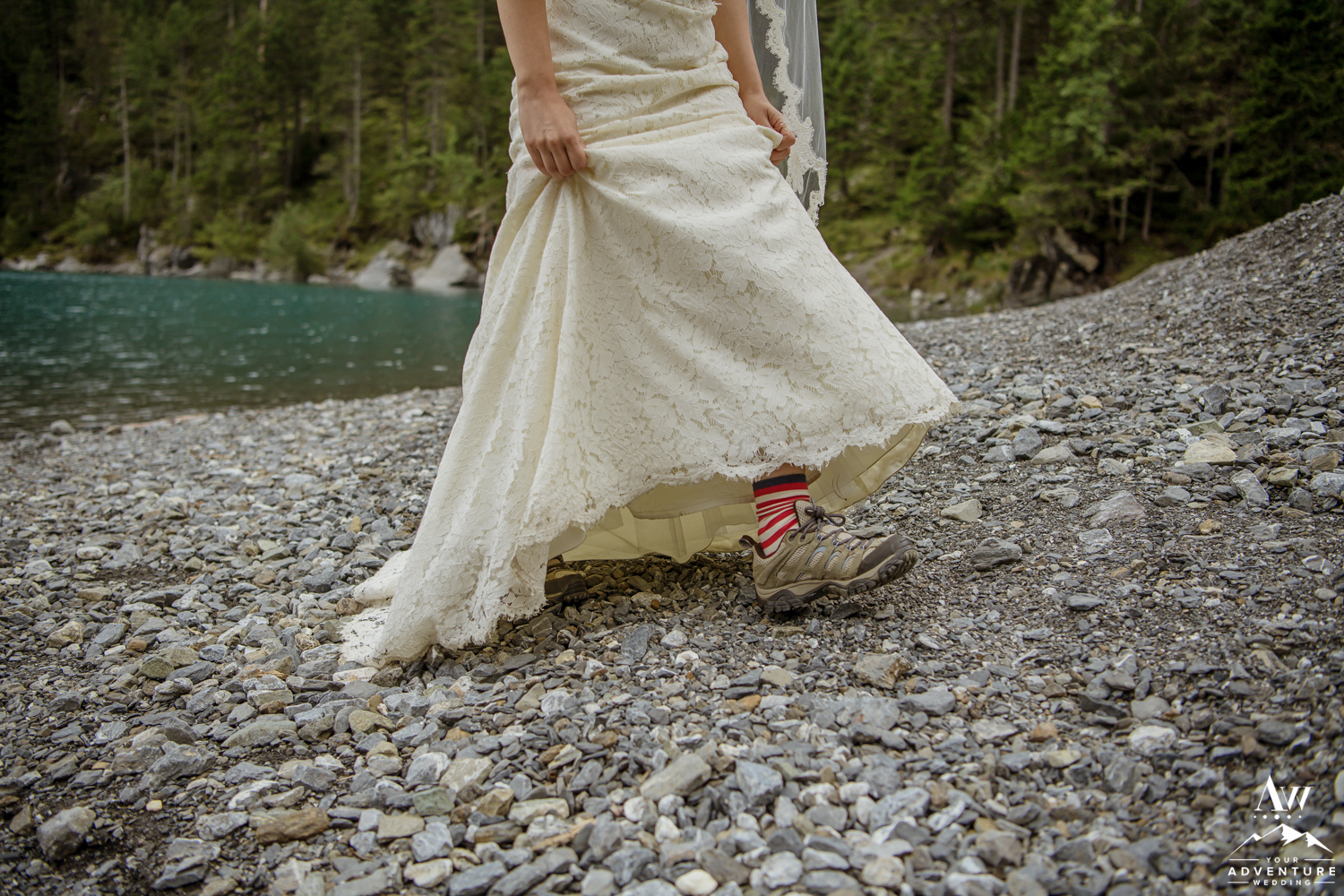 Adventure wedding bride hiking in boots