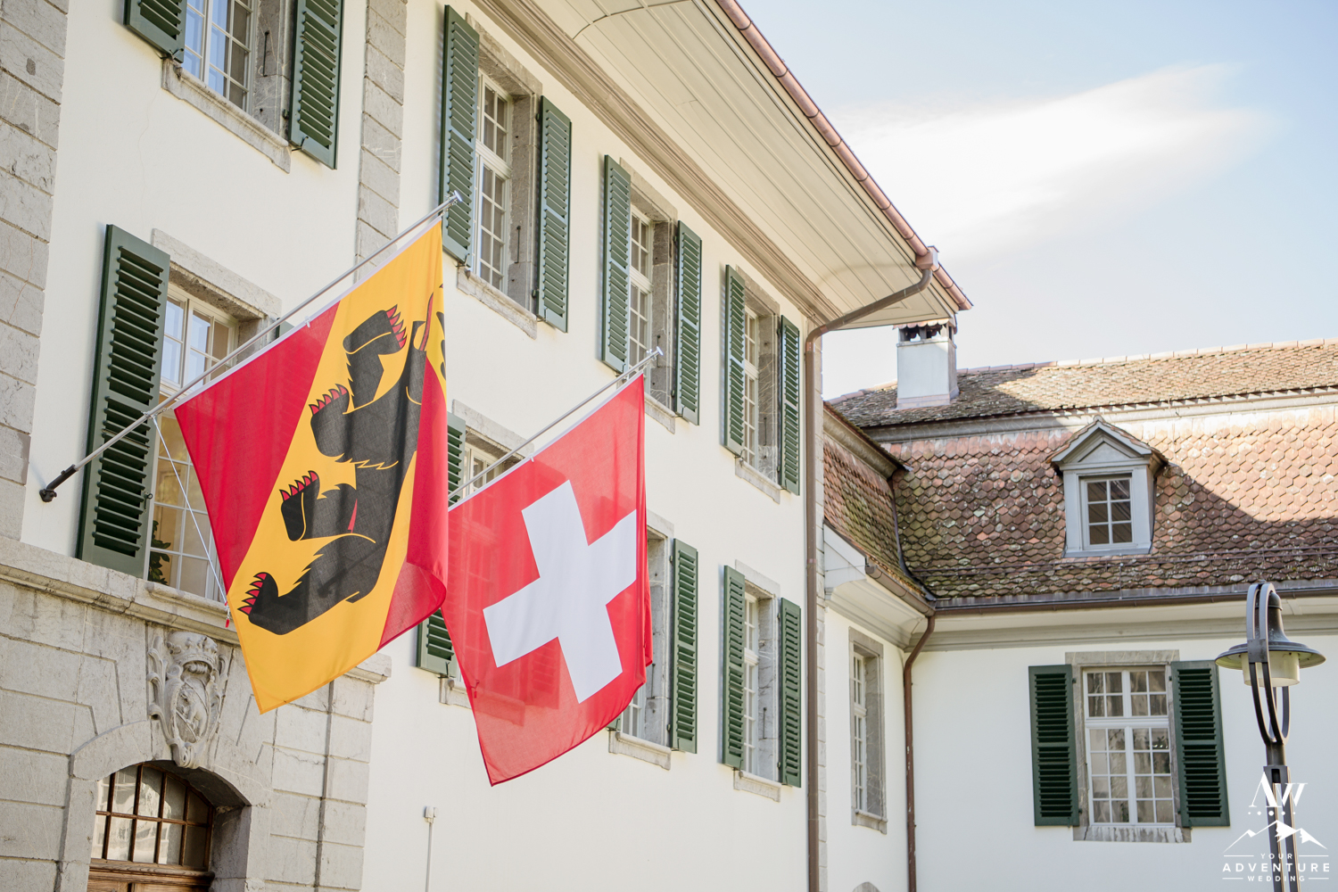 Outside of the government office for legal weddings in Switzerland