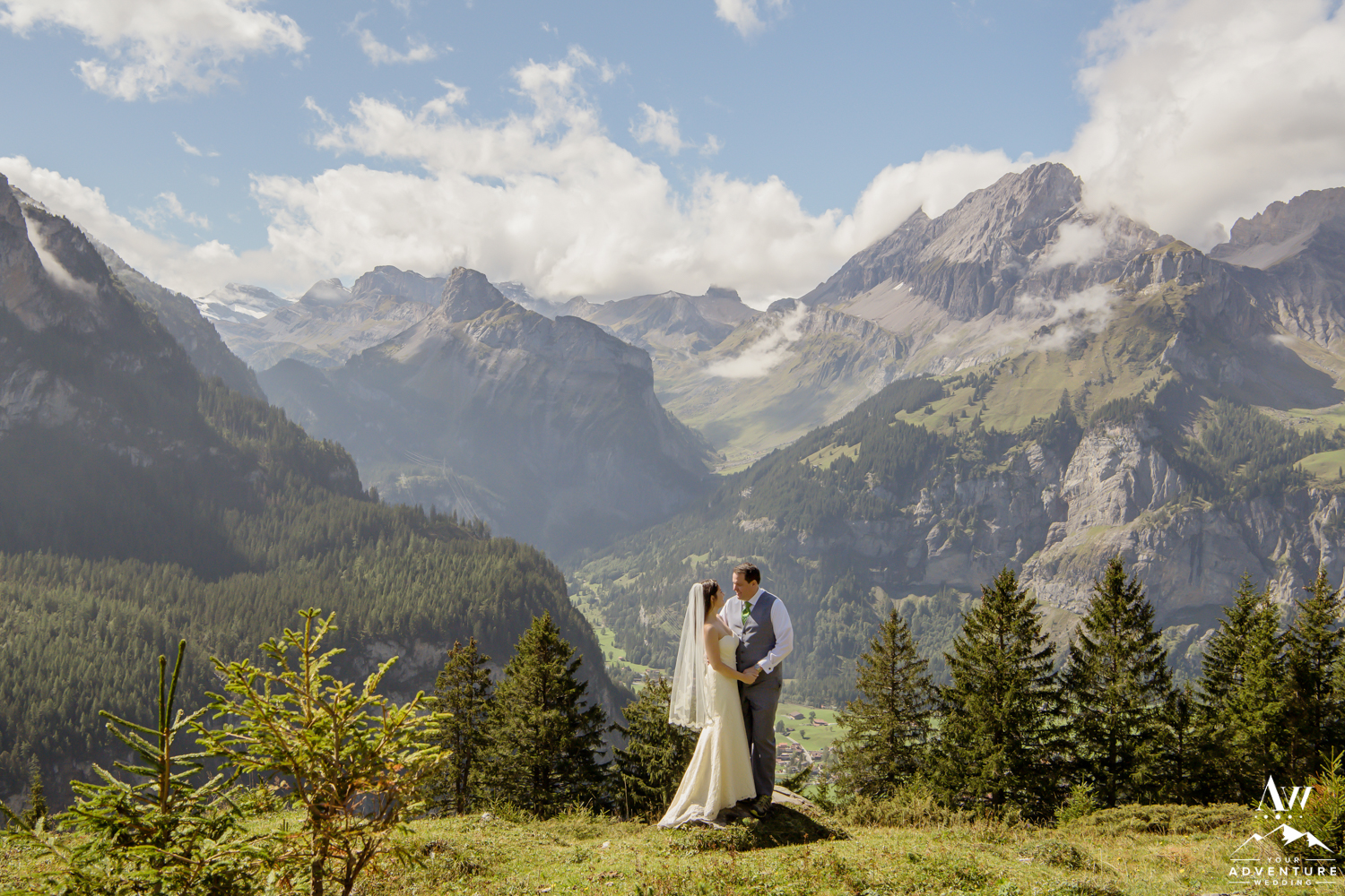 Couple in front of Switzerland Alps