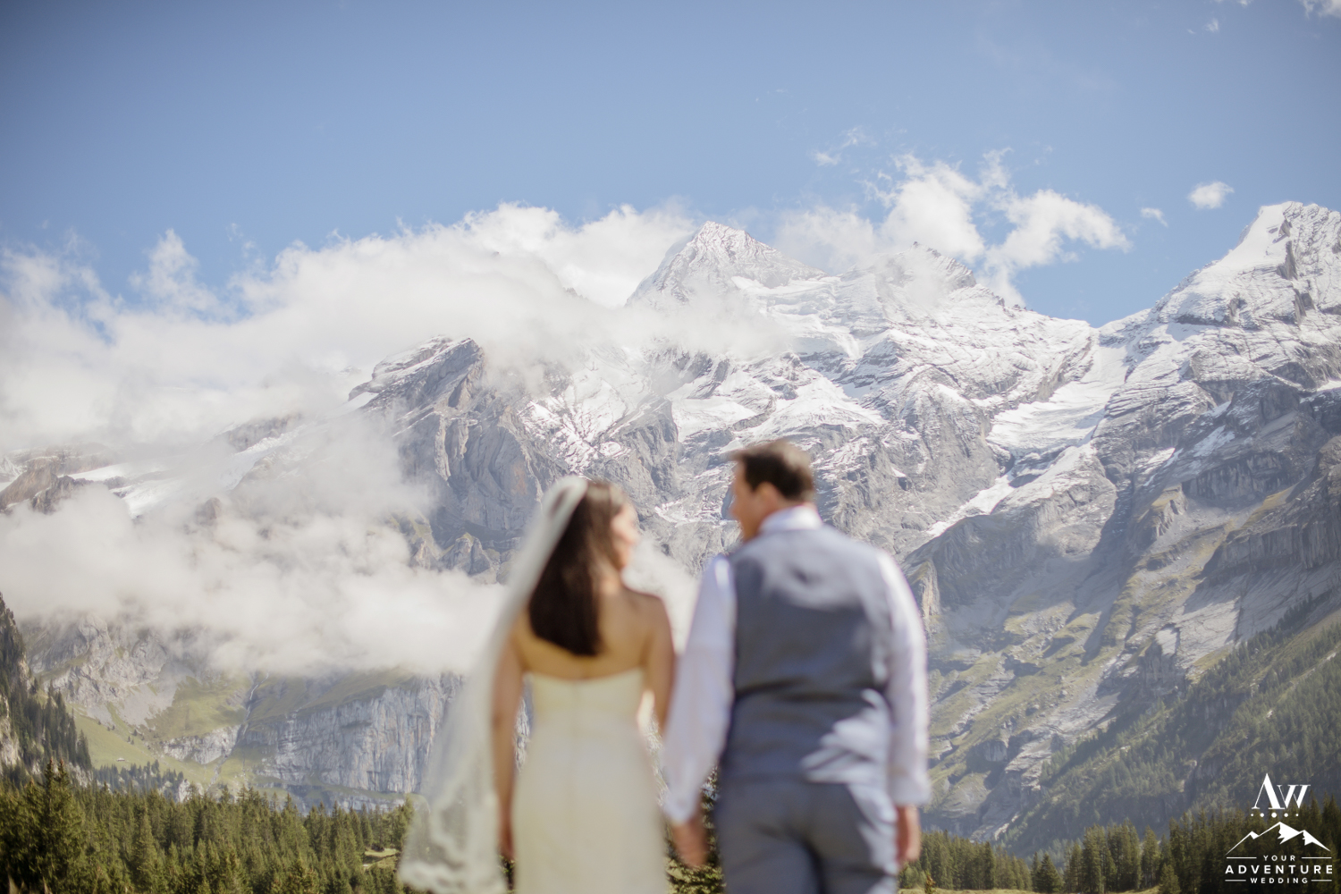 Couple in front of Swiss Alps