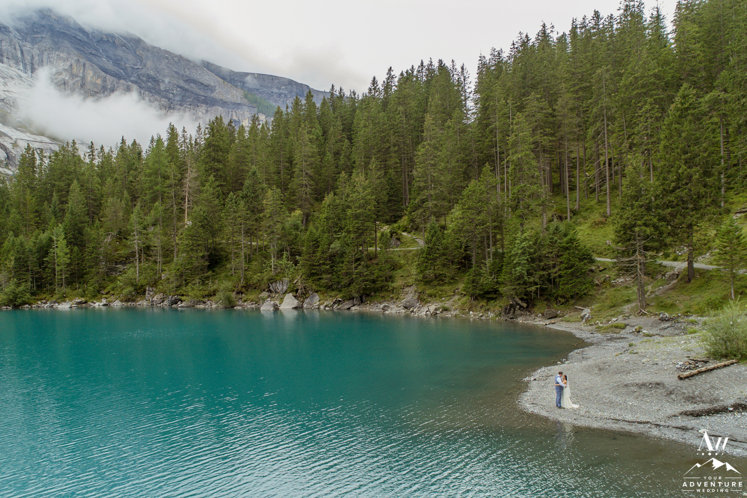 Oeschinensee Lake Drone Wedding Photo