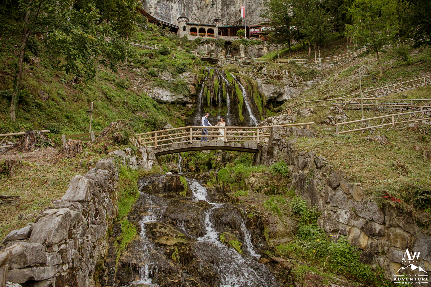 Switzerland Elopement Couple Walking at st beatus caves