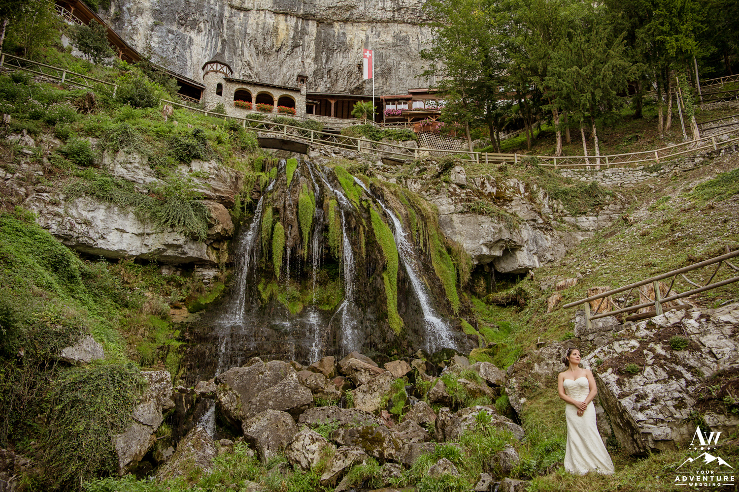 Wedding Couple outside of st beatus caves switzerland