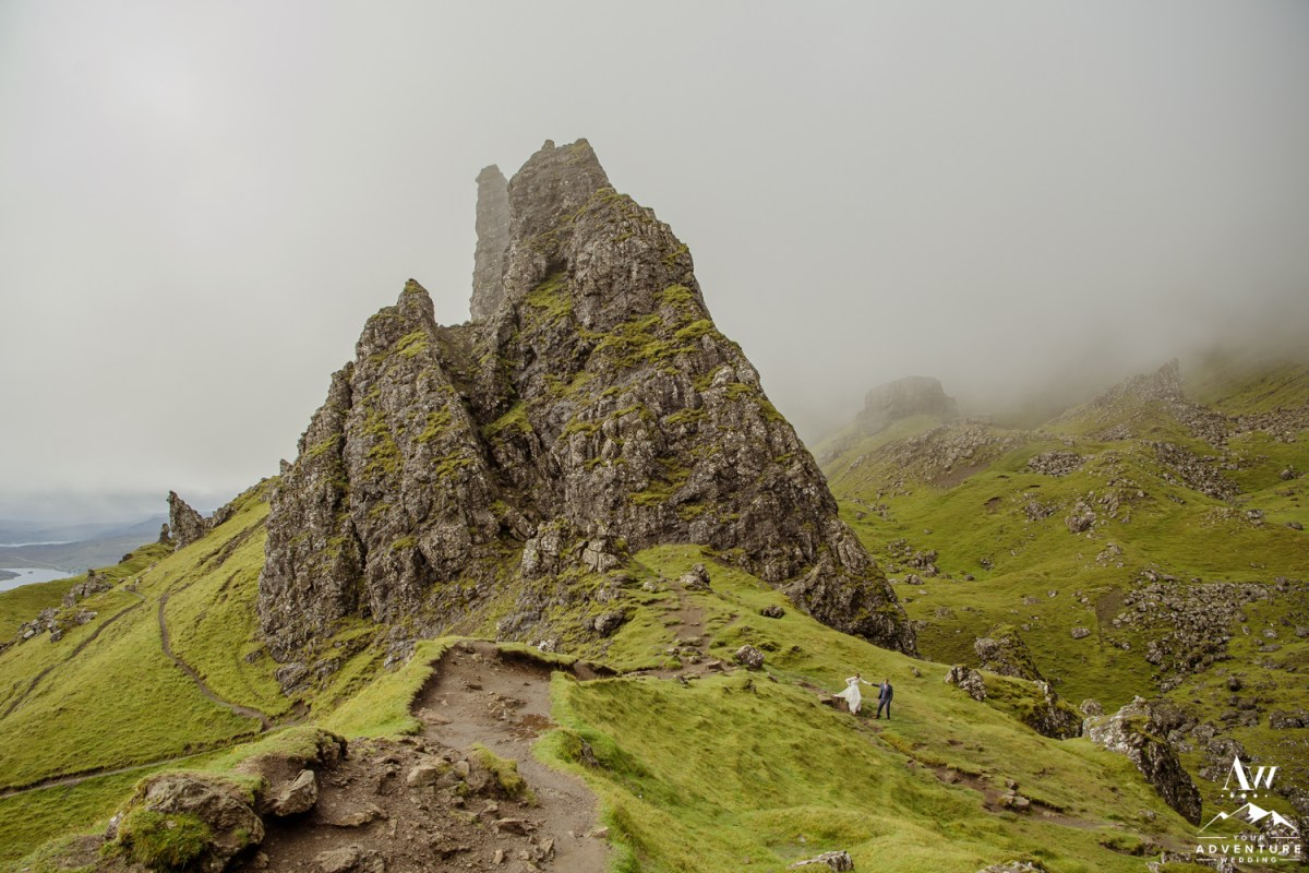 Couple Hiking Old Man Storr during adventurous elopement